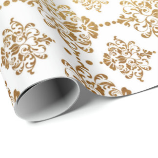 Royal Golden Ornament White Floral Princess Wrapping Paper