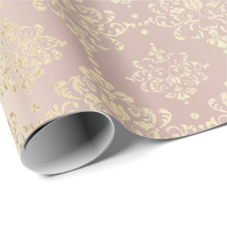 Royal Golden Pink Rose Metallic  Floral Princess Wrapping Paper