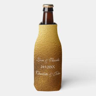 Royal Golden Shiny Save The Date  Bottle Cooler