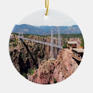 Royal Gorge Bridge,  the highest in USA Round Ceramic Decoration
