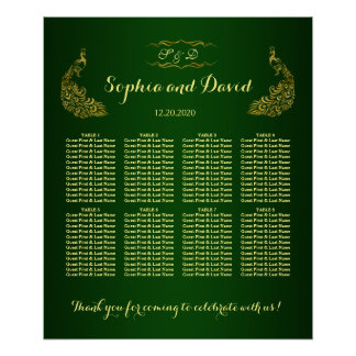 Royal Green Gold Peacock Wedding Seating Chart