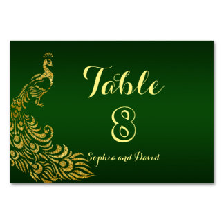Royal Green Gold Peacock Wedding TABLE NUMBER