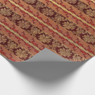 Royal Grungy Gold Red Lace Floral Wrapping Paper