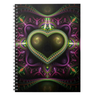 Royal Heart Fractal Spiral Notebook