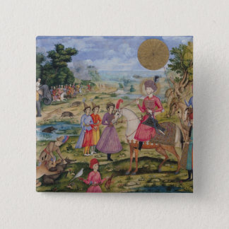 Royal Hunt, from Isfahan, Iran 15 Cm Square Badge