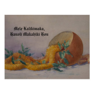 Royal Ilima and Calabash Vintage Hawaiian Artwork Postcard