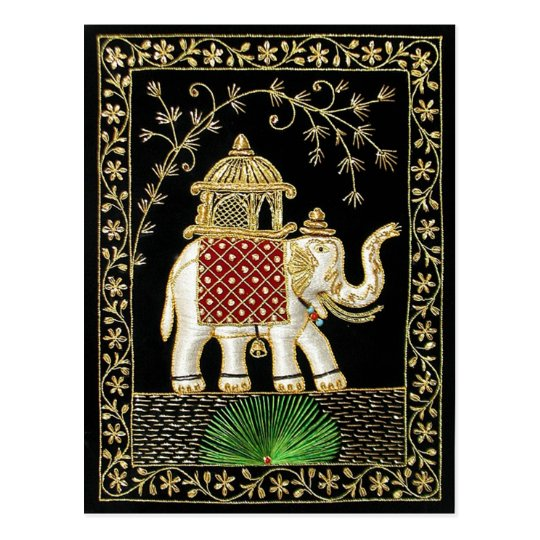 ROYAL INDIAN ELEPHANT RIDE ZARI ART POSTCARD