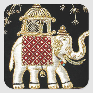 ROYAL INDIAN ELEPHANT  RIDE ZARI ART SQUARE STICKER