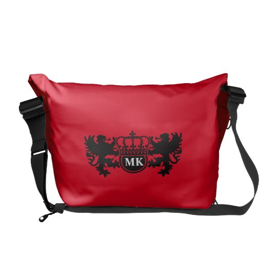 Royal Lion Monogram Red Commuter Bag