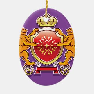 Royal Lions Shield Crown Badge Ceramic Oval Decoration