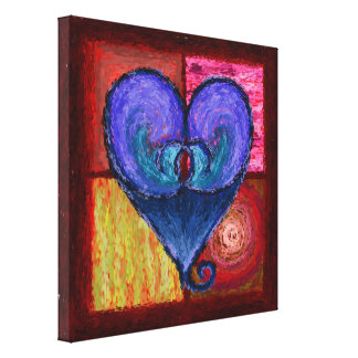 Royal Lustrous Heart Wrapped Canvas