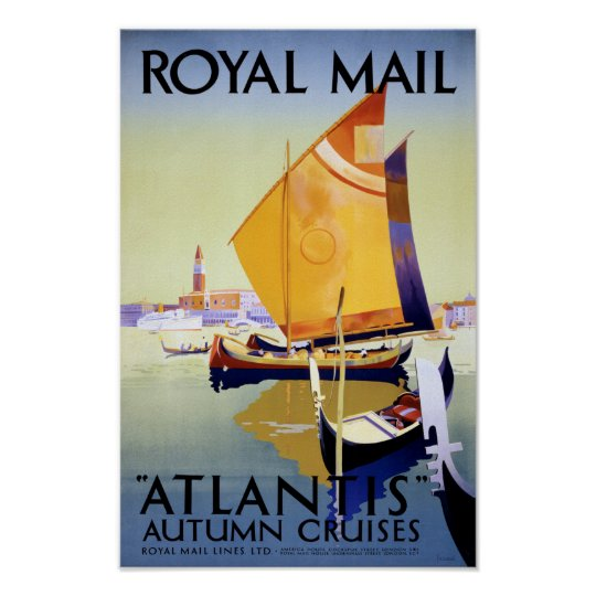 Royal Mail Atlantis Cruise Vintage Poster Restored