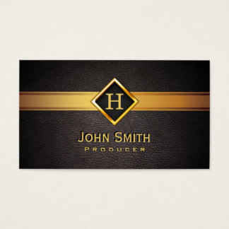 Royal Monogram Gold Label Producer Business Card