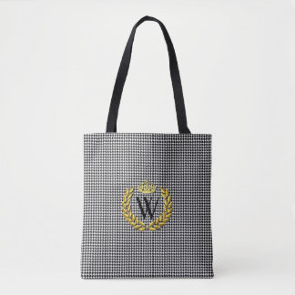 Royal Monogram Houndstooth Personalize Tote Bag