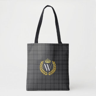 Royal Monogram Plaid Personalize Tote Bag