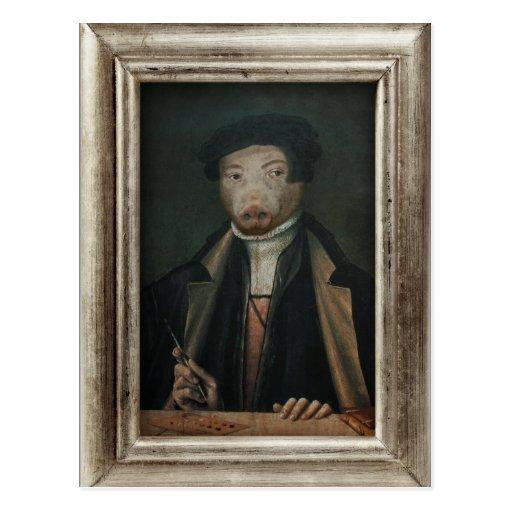 Royal Mr. Artist Pig Framed Portrait Postcard