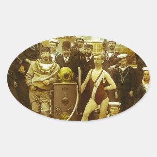 Royal Naval Exhibition 1891 Magic Lantern Slide Oval Sticker