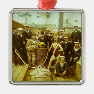 Royal Naval Exhibition 1891 Magic Lantern Slide Silver-Colored Square Decoration