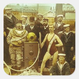 Royal Naval Exhibition 1891 Magic Lantern Slide Square Sticker