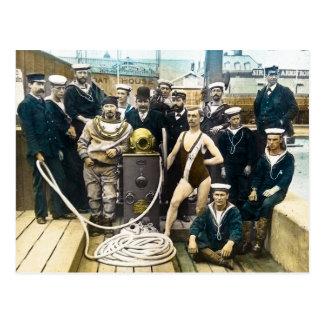 Royal Naval Exhibition 1891 Vintage Hardhat Diver Postcard