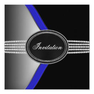 Royal Navy Blue Black Diamond Black Tie Party Card