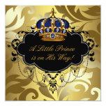 Royal Navy Blue Black Gold Prince Baby Boy Shower Personalised Invitation