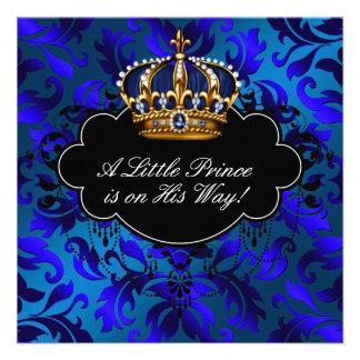 Royal Navy Blue Black Prince Baby Boy Shower Announcement