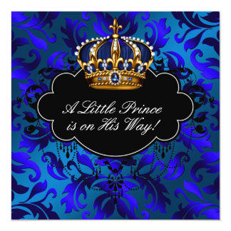 Royal Navy Blue Black Prince Baby Boy Shower Announcement
