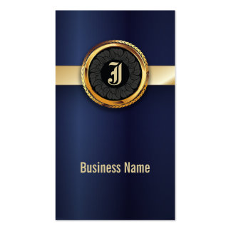Royal Navy Blue & Gold Label Business Card