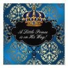 Royal Navy Blue Gold Prince Baby Boy Shower Card