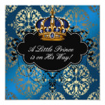 Royal Navy Blue Gold Prince Baby Boy Shower Personalised Announcement