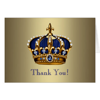 Royal Navy Blue Gold Prince Crown Thank You Cards