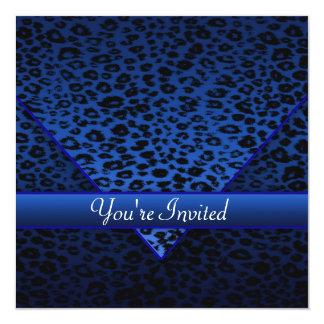 Royal Navy Blue Leopard Party 13 Cm X 13 Cm Square Invitation Card