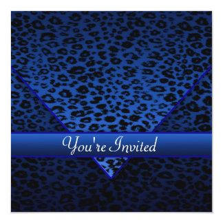 Royal Navy Blue Leopard Party Card