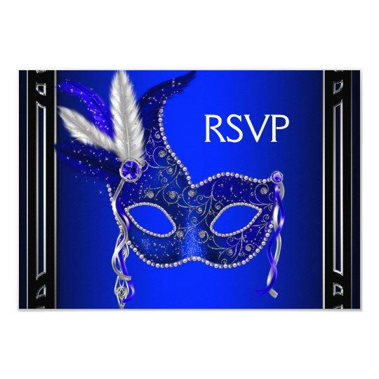Royal Navy Blue Mask Masquerade Party RSVP Card