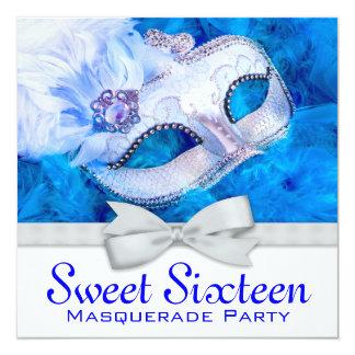 Royal Navy Blue Masquerade Party Invitations