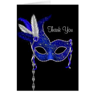 Royal Navy Blue Masquerade Party Thank You Cards Note Card