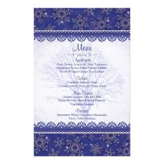 Royal Navy Blue Snowflake Winter Wedding Menu Card