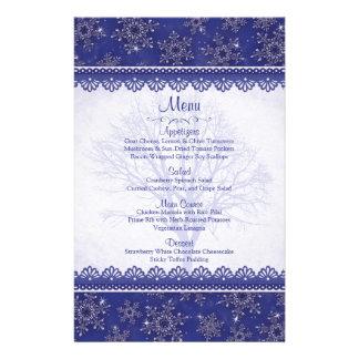 Royal Navy Blue Snowflake Winter Wedding Menu Card Flyers