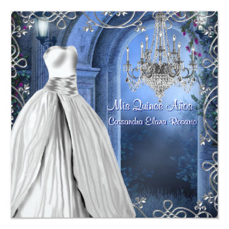 """Royal Navy Blue White Quinceanera 5.25"""" Square Invitation Card"""