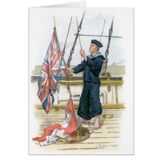 Royal Navy Sailor Signalling Greeting Card