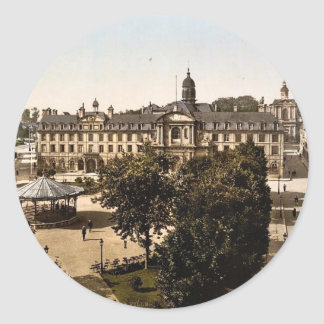 Royal Palace and hotel de ville Caen France clas Round Stickers