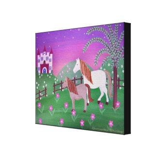 Royal Pastures - 16x20 Castle Horses Kids Wall Art Stretched Canvas Prints