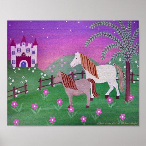 Royal Pastures - 8x10 Castle Horses Girls Kids Art Poster
