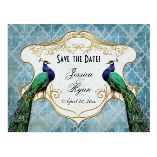 Royal Peacock Blue Save the Date Postcard