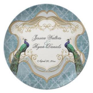 Royal Peacock Blue Wedding Keepsake Plate