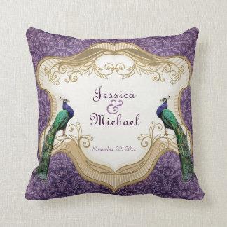 Royal Peacock (Purple) Personalized Anniversary Cushion