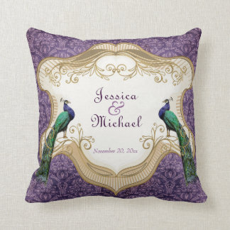 Royal Peacock (Purple) Personalized Anniversary Cushions