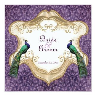 Royal Peacock Purple Wedding Invitation