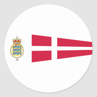 Royal Pennant Of Denmark, Greenland flag Classic Round Sticker